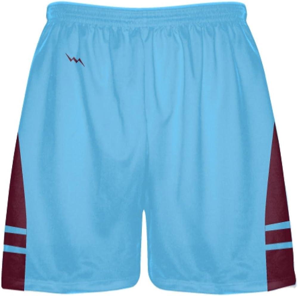 Mens Boy Lacrosse Shorts Youth Extra Large Powder Blue Maroon Lacrosse Shorts