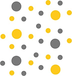 Yellow/Grey Vinyl Wall Stickers - 2 & 4 inch Circles (30 Decals)