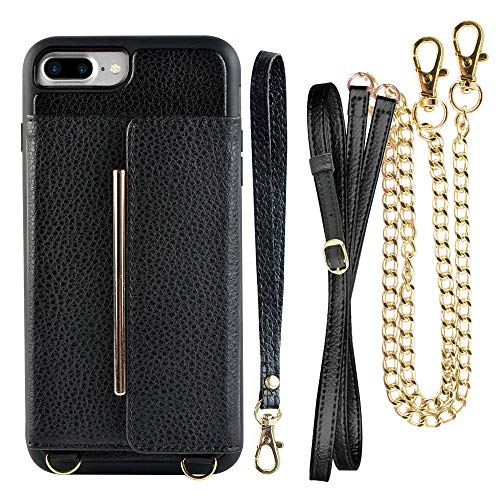 iPhone 8 Plus Crossbody Case, iPhone 7 Plus Wallet Case, ZVEdeng Leather Card Holder Case for iPhone 7 Plus/8 Plus, iPhone 8 Plus Case with Stand, iPhone 7 Plus Case with Wrist Crossbody Strap-Black