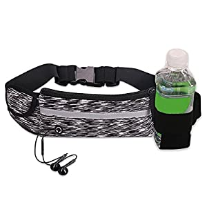 Running Belt Pack Sports Running Waist Pack Belt Pouch, Outdoor Sweatproof Reflective Running Gear Bag ,with Water Bottle Holder,for Men Women during Workouts, Fitness, Cycling, Hiking (black gray)