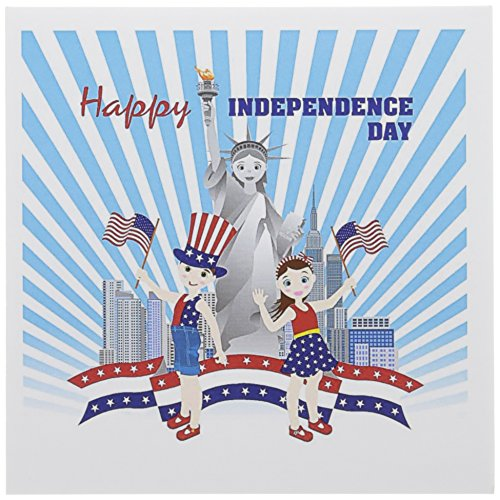 3dRose Greeting Cards, 6 x 6 Inches, Pack of 12, July 4th Celebration with Statue of Liberty (gc_125935_2)