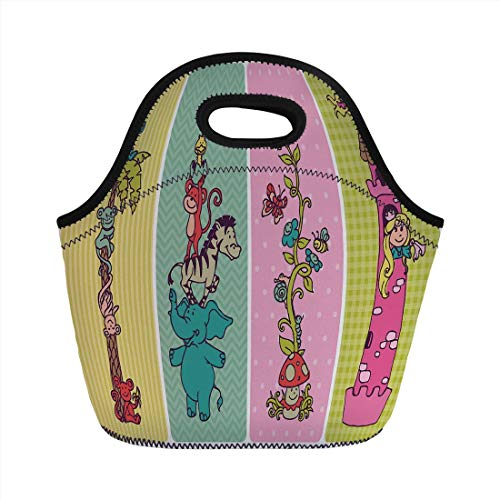 (Portable Lunch Bag,Nursery,Vintage Children Banner Set Animals Safari Palm Tree Flowers Princess Mushroom,Multicolor,for Kids Adult Thermal Insulated Tote Bags)
