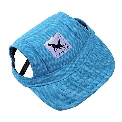 Pet Hat, OOEOO Visor Cap with Ear Hole Summer Dog Cat Baseball Cap Puppy Hat Sunbonnet (Blue) -
