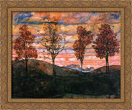 Four Trees 1917 24x20 Gold Ornate Wood Framed Canvas Art by Schiele, Egon ()