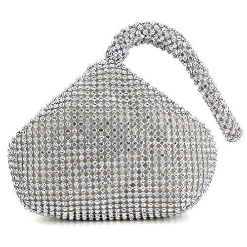 Meeto Fashion Womens Glitter Clutch Bag Crystal Diamante Sparkly Silver Evening Bag Bridal Prom Party Handbag Purse (Silver1)
