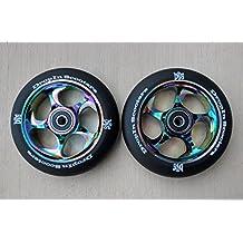 DIS 110mm Black Slicks Metal Core Scooter Wheels with Bearings (2 wheels) - Neo Chrome