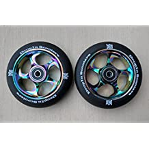 DIS 110mm Black Slicks Metal Core Scooter Wheels (Pair - 2 Wheels) with ABEC-11 High Speed Bearings installed