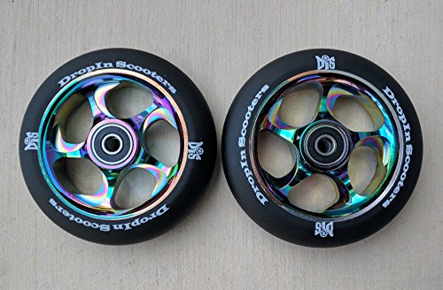 - DIS 110mm Black Slicks Metal Core Scooter Wheels - 2 Wheels with ABEC-11 Bearings and spacers installed