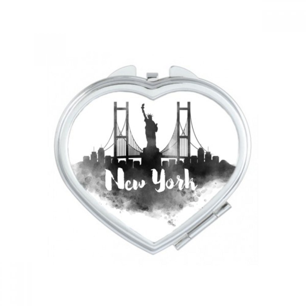 New York America Ink City Heart Compact Makeup Pocket Mirror Portable Cute Small Hand Mirrors Gift