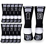 Custom Team Number Crew Socks | Athletic Socks by ChalkTalkSPORTS | Black | Choose Your Number