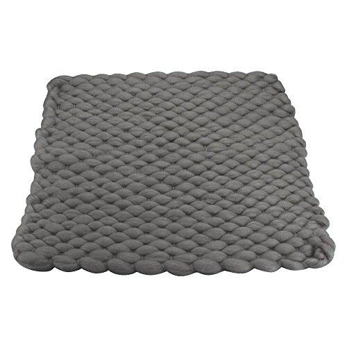 D&J Handcraft Newborn Photography Props Knit Blanket Baby Photo Basket Props Stuffer Filler Mat, Acrylic Soft 17.7x15.7inch Grey