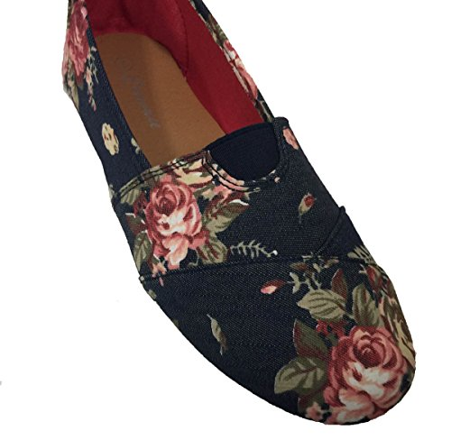 LADIES FLORAL FLOWER PRINT CANVAS ESPADRILLES FLAT SHOE_Navy