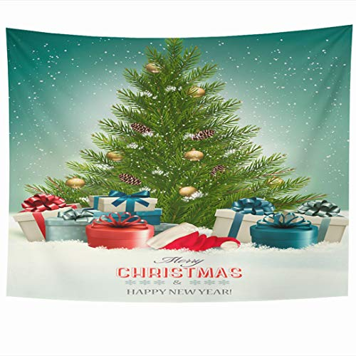 Ahawoso Tapestry 90x60 Inch Green Box Christmas Tree Presents Santa Forest Holidays Red Snow Snowy Year Vintage Wall Hanging Home Decor for Living Room Bedroom Dorm