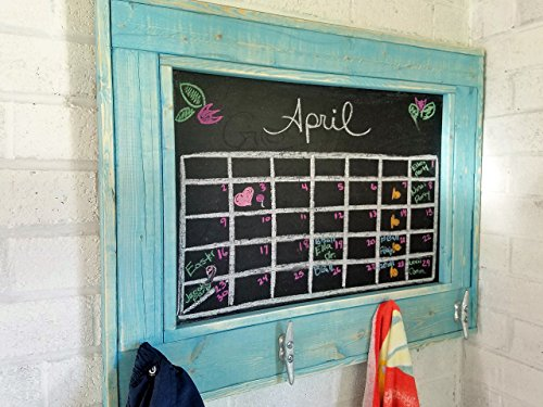 Renewed Decor Herringbone Style Beach house Chalkboard with boat cleats in Aqua Stain - Large Wall Chalkboard- Rustic Modern Home - Home Decor - Chalkboard
