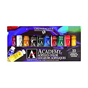 Grumbacher Academy Acrylic Paint, 24ml/0.8 oz Metal Tube, 10-Color Set, C1030