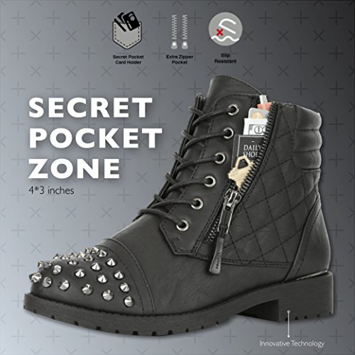 DailyShoes Women's Military Lace up Buckle Combat Boots Ankle High Exclusive Credit Card Pocket Frontal Metal Stud Hiking Booties, Black PU, 11 B(M) US by DailyShoes (Image #2)