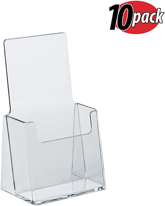 Azar 252012 Clear Acrylic Trifold Literature Brochure Holder For Counter | Perfect For Pamphlets | Brochures | Menus | Promotions | Literature | Made In USA (Pack of 10)