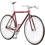 Pure Fix Original Fixed Gear Single Speed Bicycle, Don Ruby Red/White/Brown, 50cm/Small
