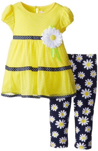 Youngland Girls 2-6X Short Sleeve Dress with Bouquet At Waist, Yellow/Navy, 3T