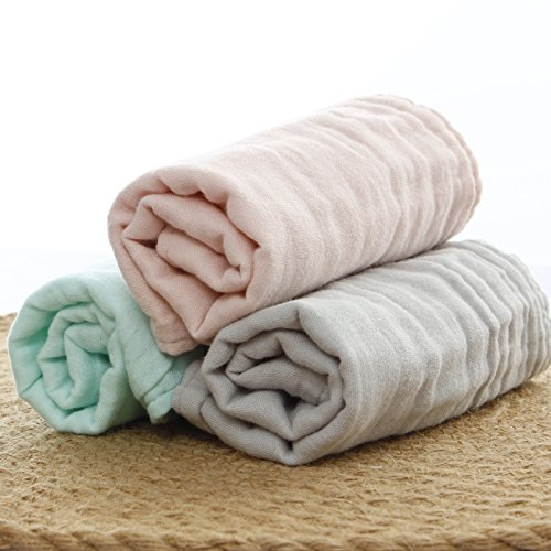 Baby Bath Washcloths by MUKIN - 100% Organic Muslin Cotton Washcloth for Newborn,Ultra Soft Wash Cloths for Babies | Baby Wipes for Baby Sensitive Skin | Perfect Baby Shower Gift.12''X12'' (Set of 3) by Mukin
