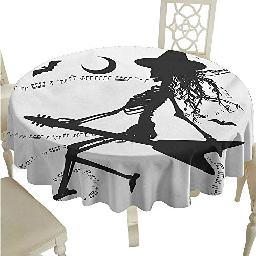longbuyer White Round Tablecloth Music,Witch Flying on Electric Guitar Notes Bat Magical Halloween Artistic Illustration,Black White D70,for Wedding Reception Nave Blue
