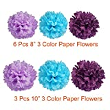 Paxcoo 29 Pcs Purple and Blue Party Decorations with Tissue Pom Poms Lanterns Tassel Garland for Birthday Baby Shower Decor