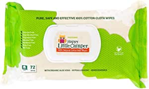 Happy Little Camper x Hilary Duff Gentle Hypoallergenic and dermatologically Tested Natural Cotton Wipes with Organic Aloe Vera and Vitamin E Chlorine-Free, 72 Count
