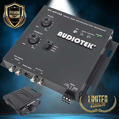 Audiotek AP100 Digital Bass Processor, Crossover for Car Subwoofer Tuners w/Knob