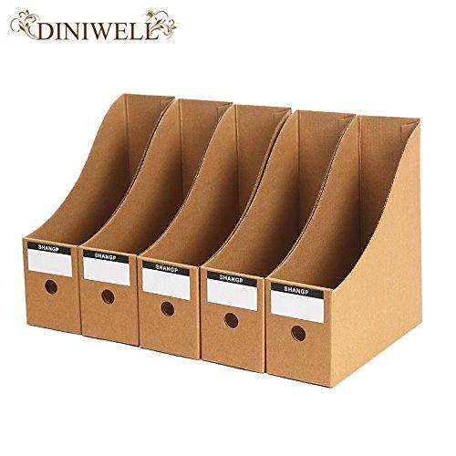 Lavenz 5 PCS Kraft Paper Collapsible Office Storage Box Desktop Document Organization