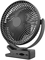 10000mAh 8-Inch Rechargeable Battery Operated Clip on Fan, 4 Speeds Fast Aiflow USB Fan, Sturdy Clamp Portable