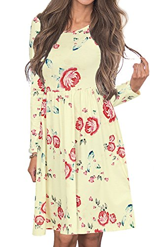 Junior Dresses Spring (Angerella Casual Long Sleeve Swing Skater Tunic Dress Shirts For Women,Beige, X-Large)
