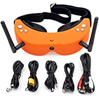 Skyzone SKY01 FPV Goggles 5.8GHz Dual Diversity 48 Channels 48CH Receiver Glasses with Head-Tracker Auto Search Frequency (Orange)