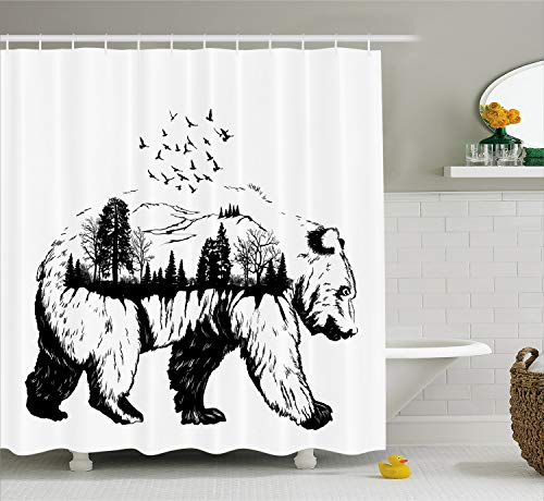 Double Tree Hotel Suites - Ambesonne Cabin Decor Shower Curtain by, Hand Drawn Bear Double Exposure with Forest Trees Flying Birds Concept Art, Fabric Bathroom Decor Set with Hooks, 70 Inches, Black and White