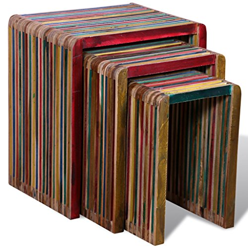 (Festnight 3 Pieces Nesting Tables Reclaimed Teak Wood, Colorful)