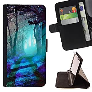 BullDog Case - FOR/Sony Xperia Z1 L39 / - / FOREST MAGICAL LIGHT BLUE TREES ART MYSTICAL /- Monedero de cuero de la PU Llevar cubierta de la caja con el ID Credit Card Slots Flip funda de cuer