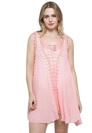 e6a34a531f20f Spiritual Hippie Beach Crochet Dress Cover Up Kaftan One Size (Pink):  Amazon.co.uk: Clothing