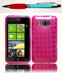 Accessory Factory(TM) Bundle (the item, 2in1 Stylus Point Pen) For HTC Titan II 2 TPU Cover Case - Hot Pink