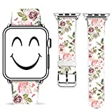 Iwatch Band 38mm,Gifun Leather Band Replacement Fashion Band for Apple Watch 38mm Iwatch Series 3 Series 2 Series 1 38mm - Beautiful Florals Pattern