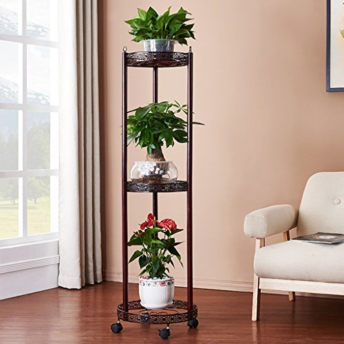 Flower Stand European Iron Art Multi-storey Flower Rack, Multi-color Optional, Creative Living Room Balcony Flower Pot Rack, With Universal Pulley (Color : Brown)