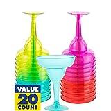 Fun-filled Fiesta Cinco de Mayo Party Assorted Colors Margarita Glasses Tableware, Plastic, 8oz., Pack of 20