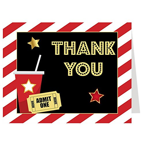 Thank You Cards, Lights, Camera, Action, Movie Birthday Party Thank You Cards, Black, red, White, Popcorn, Movies, Showtime, Set of 50 Folding Notes with Envelopes - Hollywood Themed Drink Tickets