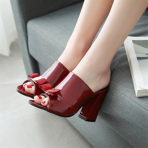 bombas diapositivas zapatos Chunky odetina Mujer lazo Comfy sandalias Toe rojo tacones lindo Peep vino Sexy Mules altos gwfg7q4