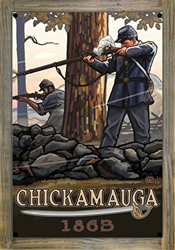 Chickamauga Geogia Civil War Rifleman Metal Print on Reclaimed Barn Wood by Paul A. Lanquist (12