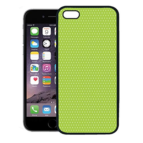 Semtomn Phone Case for iPhone 8 Plus case,Birthday for Bright Lime Green Small Polka Dots Pattern White Polkadots iPhone 7 Plus case Cover,Black