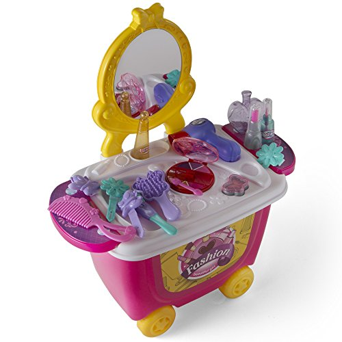 Little Girls Make Up Case And Cosmetic Set – Pretend Play Kids Beauty Salon 21 (Play Place)