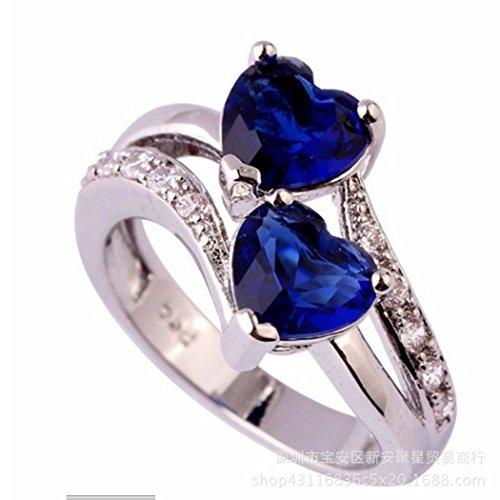 KaiKBax Double Heart shape Rainbow Topaz Gemstone Plated Silver Ring Engagement Anniversary Ring Lover Jewelry Dark blue (Dark Rainbow Rings)