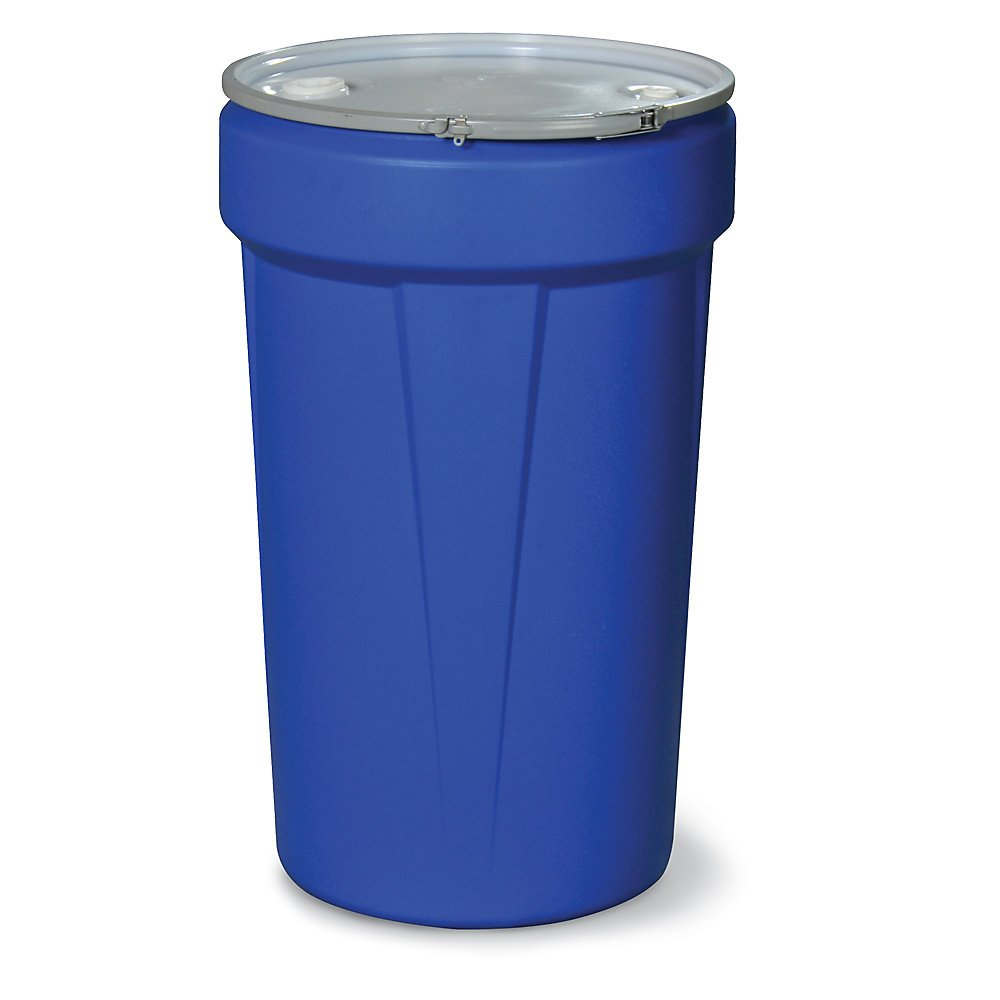 Eagle 1655MBBG Nestable Drum with Metal Band and Plastic Lid with Bungs, 55 gal, Blue
