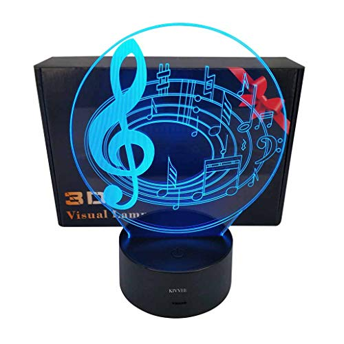 Visual 3D Night light Music Note Toys 2D lamp Xmas Chirstmas Festival Birthday Valentines Day Gift Nursery Bedroom Desk Table Decoration for Baby Kids children Lovers ()
