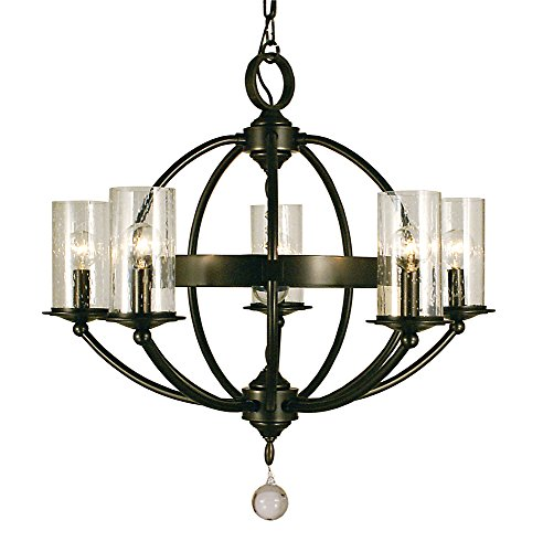 - Framburg 1075 MB Compass 5-Light Chandelier with Clear Seedy Glass, Mahogany Bronze