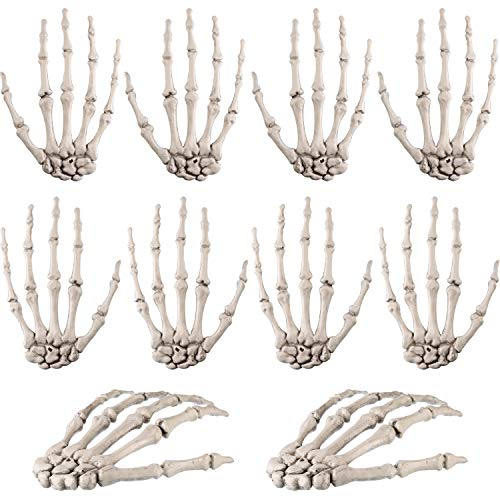 Tatuo 10 Pieces Halloween Skeleton Hands Plastic Human Hand Bone Zombie Party Terror Scary -